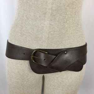 Anthropologie Italian Leather Brown Hip Belt Small
